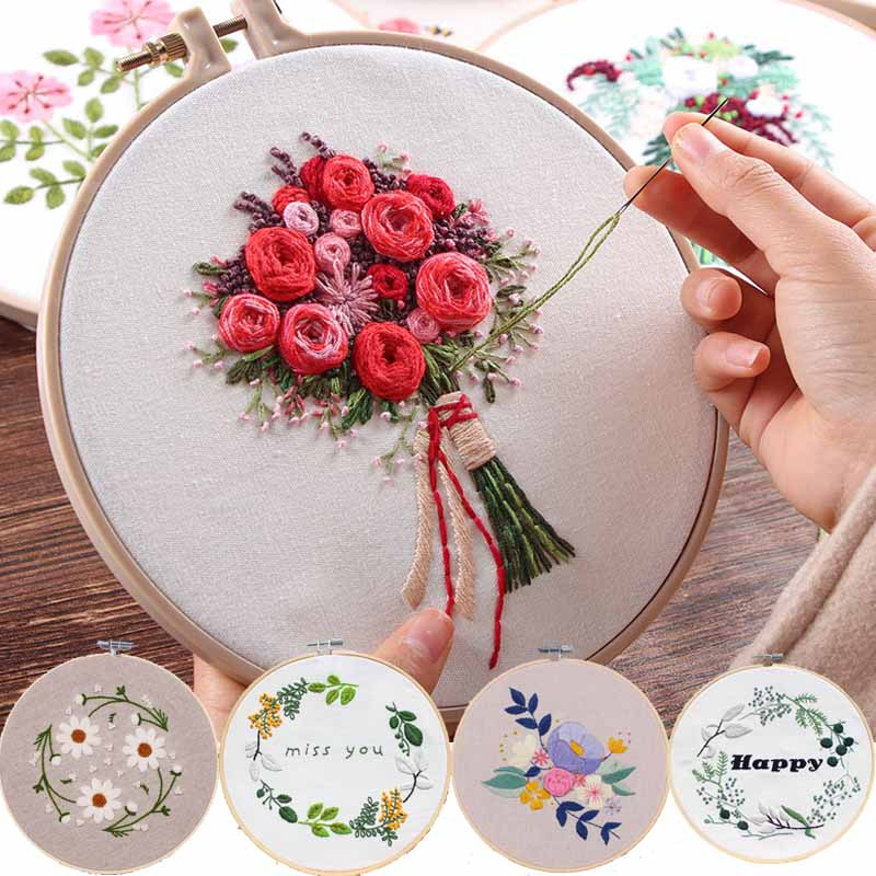 Europe Diy Ribbon Flowers Embroidery Set With Frame For Beginner