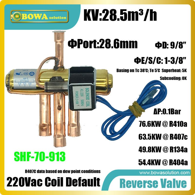 67.6KW(R410a) Reverse valves is suitable for 280000BTU heat pump water heater or 230000BTU 3-in-1 heat pump air contioners general and independent eev controller for twin compressor unit or 3 in 1 heat pump or dual temperature refrigeration equipments