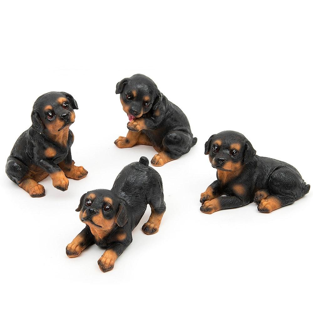 4 sztuk Żywicy Rottweiler Psy Mikro Krajobraz Wystrój Pet Puppy Miniaturowe Dom Ogród Ozdoba Bonsai Terrarium Figurki Wystrój domu