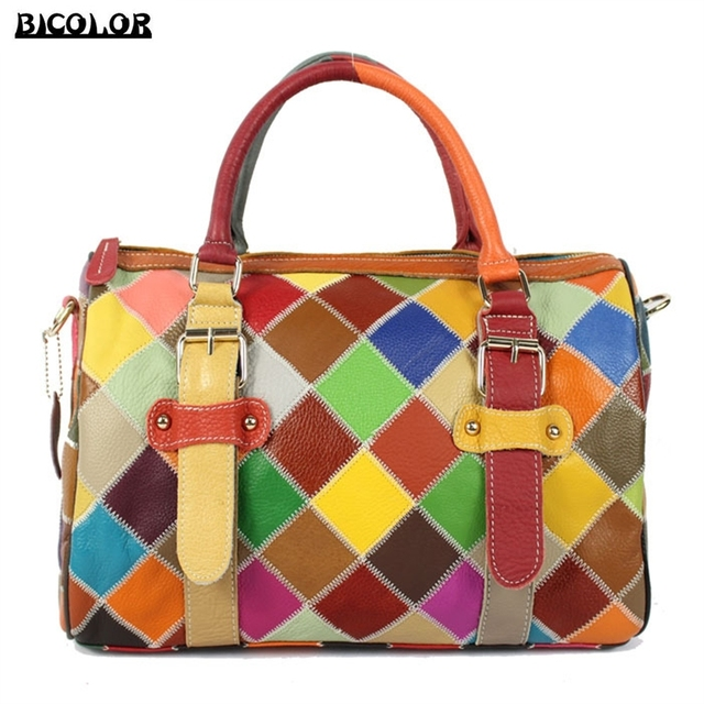 Bicolor Tote Bag New Vogue Multicolor Lattice Pattern Handbag Women Genuine Leather Handbags Belt Decorated Shoulder