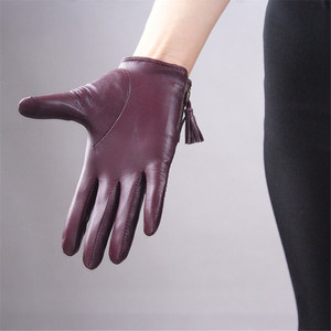 Image 4 - כפפות מסך מגע כפפות נשים סגנון קצר רוכסן ציצית מיובאת נאד עור אמיתי אופנה נשית נהיגה כפפות TB08