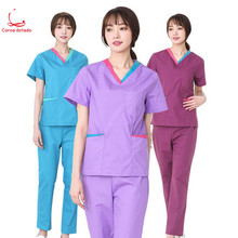 Doctors wear women's hand washing clothes short sleeve operation clothes separate body suit brushing hands in summer hospital