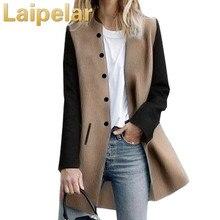Color Splicing Long Sleeve Warm Winter Long Coat Women Turndown Stand Collar Button Pocket Overcoat Female Casual Autumn 2018 turndown collar pocket corduroy shirt