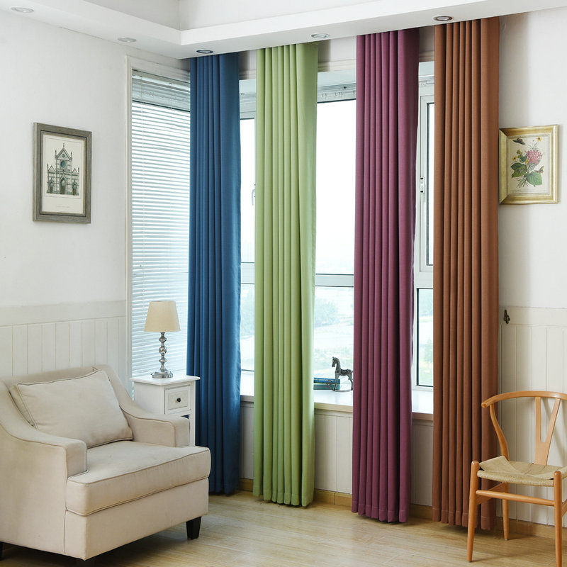 Solid Color Linen Blackout Curtain With Modern Pattern for Living - Home Textile