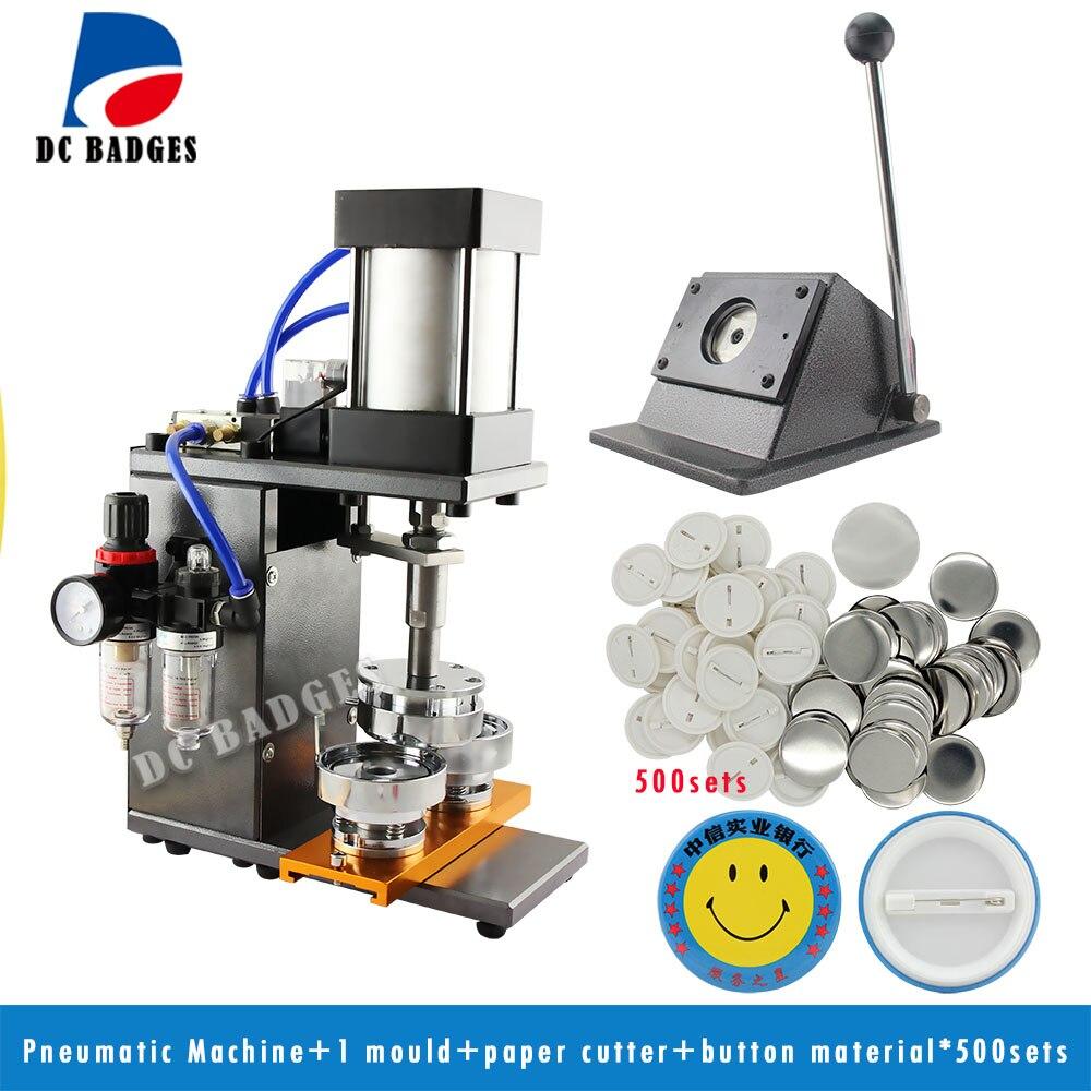 Pneumatic Button Machine + Metal stander Cutter+500sets Pin Buttons Materials