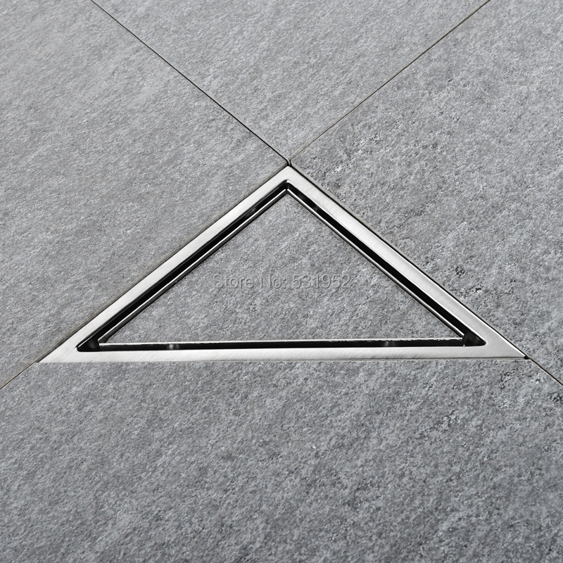 Image 2 - Triangle Invisible Floor Drain Balcony Bathroom Corner Floor Drain Deodorant Hidden Type Tile Insert Shower Drain Fast Drainage-in Drains from Home Improvement