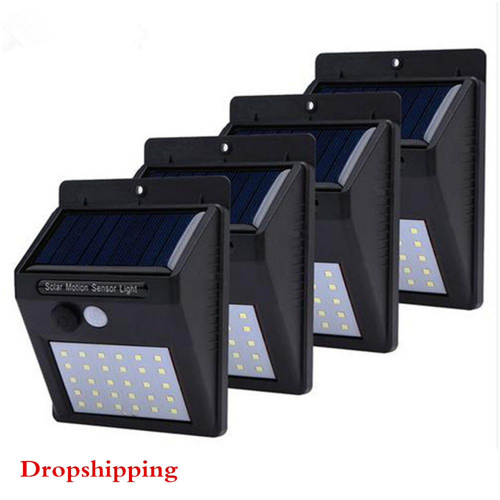 30 LED Solar Light 4PCS Outdoor Solar Lamp PIR Motion Sensor Wall Light Waterproof Solar Powered Lights For Garden Path Lamps