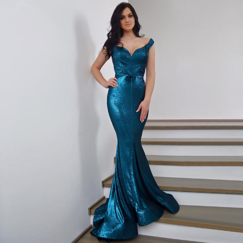 Blue Muslim   Evening     Dresses   2019 Mermaid V-neck Sequins Beaded Long Islamic Dubai Saudi Arabic Long Formal   Evening   Gown