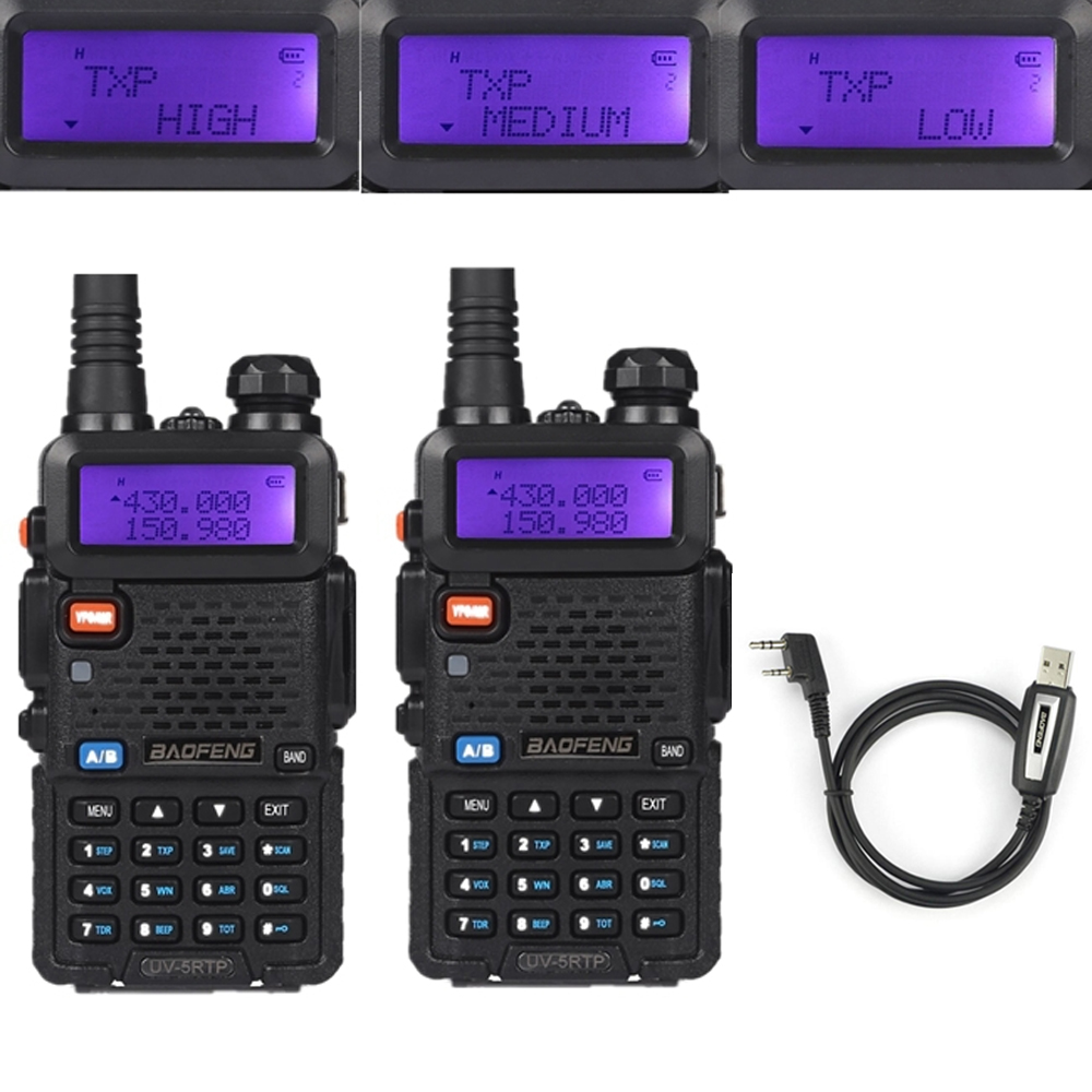2x Baofeng UV-5RTP VHF/UHF 136-174/400-520MHz FM High Power 1/4/8W Two-way Ham Radio Walkie Talkie With Programming Cable