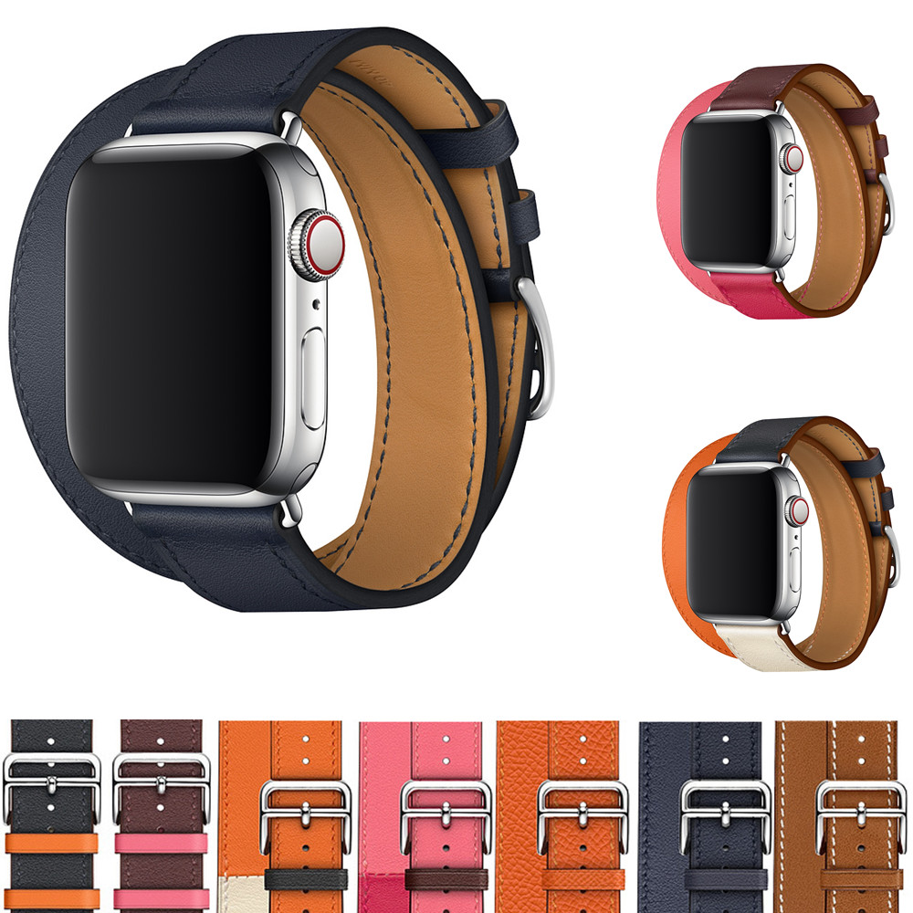 for apple watch band 4 leather Double tour strap 42mm 38mm iwatch series 3 2 1 watchband bracelet wrist belt+metal buckle stripe leather double buckle cuff band for apple watch 38mm 42mm strap bracelet