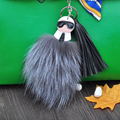 Double-Sided Fur Monster Keychain Fox Fur Pompons keyring Fluffy Karlito keychain  Leather Tassel key chain bag charm llaveros