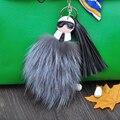 Piel de doble Cara Llavero Monstruo de Pompones de Piel de Zorro llavero Esponjoso Karlito llavero llaveros llavero del encanto del bolso de La Borla de Cuero