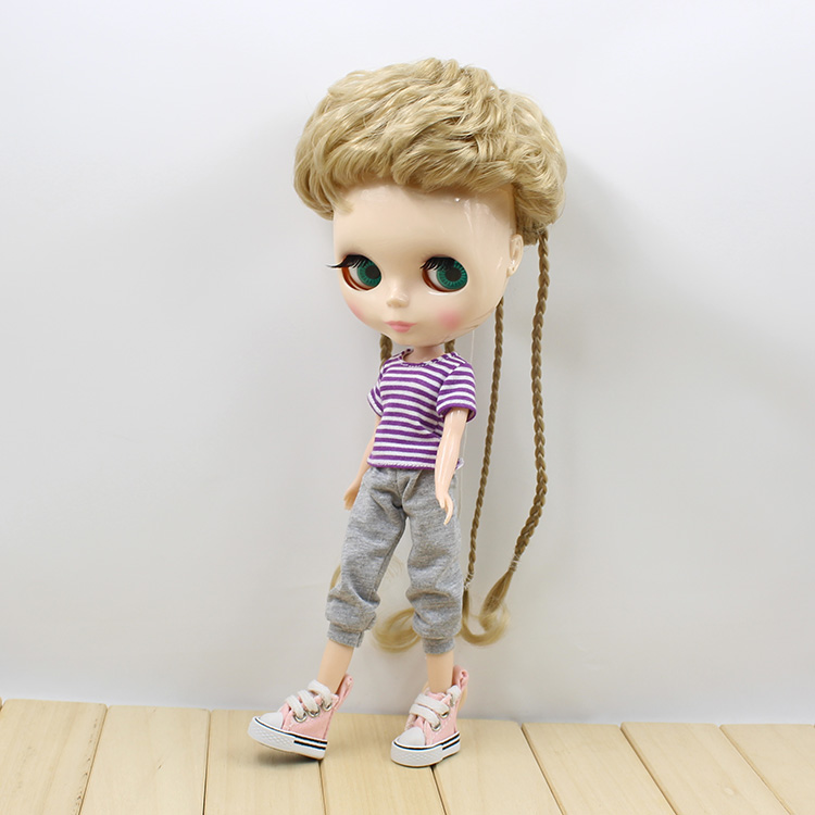 Free shipping nude blyth doll three colors short hair with braids cute dolls toys for girls gifts  free shipping nude blyth doll brown wavy wig doll toys for girls