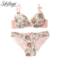 Shitagi New 2017 French Rose Sexy Push Up Bra Briefs Set Thick Transparent Lace Women Underwear Set Young Girl Sweet lingerie
