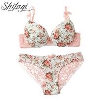 Shitagi nueva 2017 francés Rose sexy push up BRA Bragas brief set thick transparente Encaje mujeres Ropa interior conjunto niña dulce ropa interior