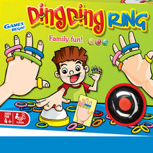 Family Fun Ding Ding Ring Funny Party Games with 24 pcs picture cards 60 pcs Hair Rings and 1 Bell for 2-6 players