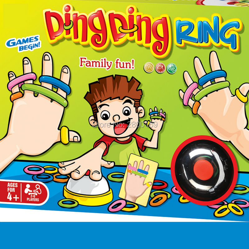 Jogos engraçados da festa do anel do ding do divertimento da família com 24 cartões de imagem dos pces 60 anéis do cabelo dos pces e 1 sino para 2-6 jogadores