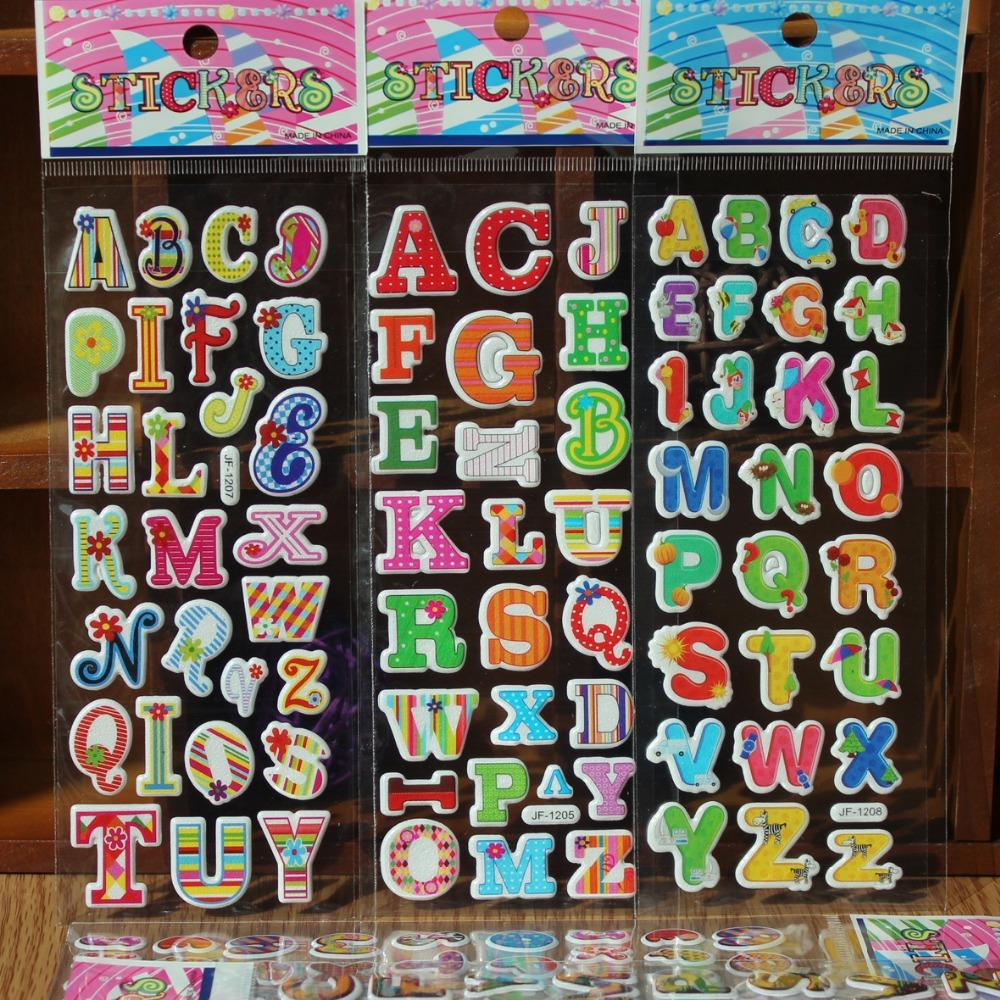 5pcslot 3d cartoon 26 english letters or arabic numbers kids rooms bubble stickers