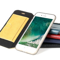 Brand New Pierre Cardin Genuine Leather Cell Phone Case For IPhone 7 7 Plus Stand Flip