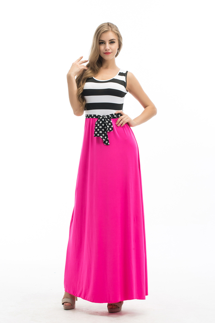 Nueva marca Maxi Dress mujeres Sexy No de manga larga vestido de Boho del verano partido de tarde de impresión Hot Pink Beach vestidos vestido de tirantes