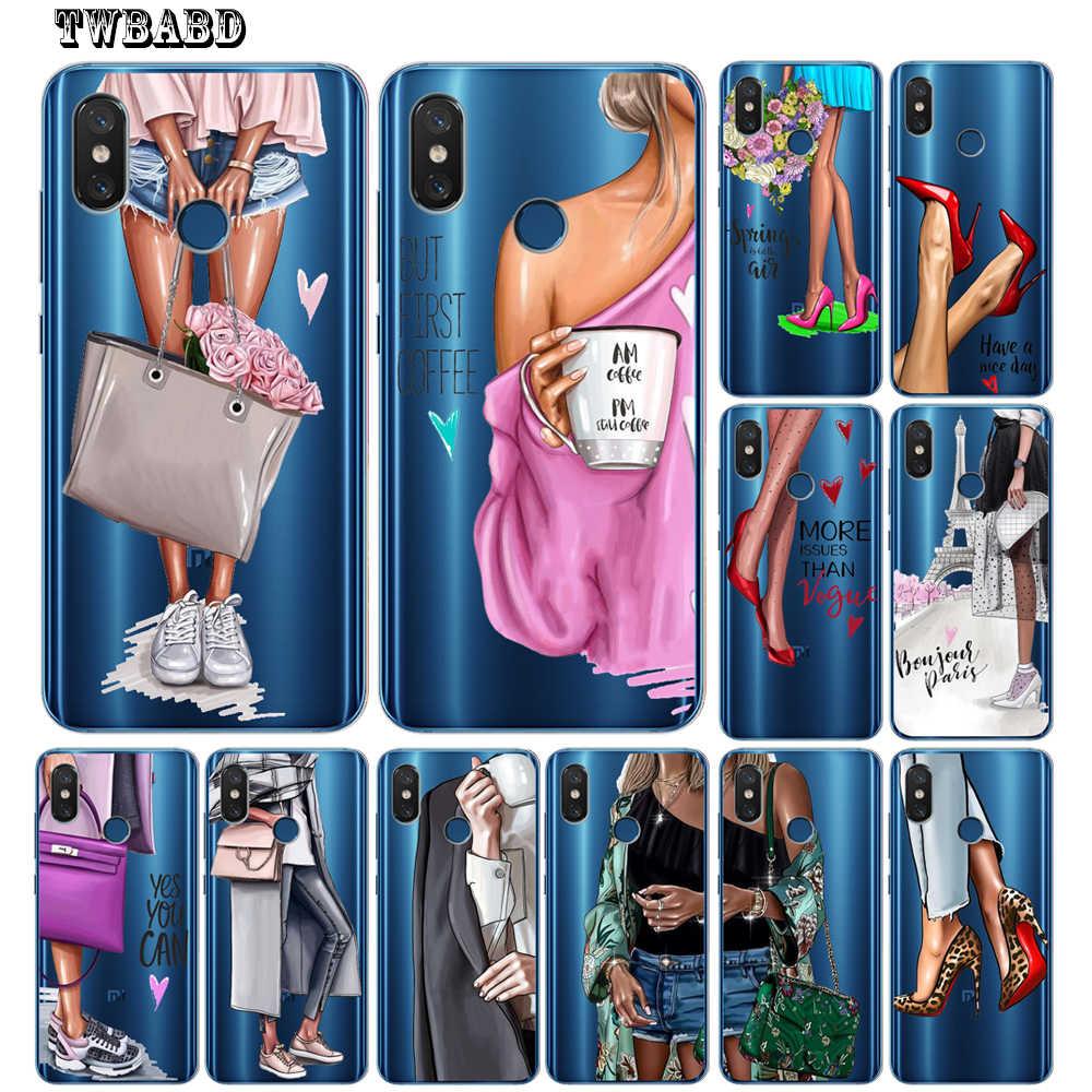 Модная одежда для девочек женские Мягкий силиконовый чехол для Xiaomi Redmi 4X 4A 5A 5 плюс Примечание 7 4X 5A 5 6 Pro 6 6A 6Pro Xiaomi 5X6X8 A2 Lite