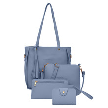 4-piece tassel handbag shoulder bag clutch bag purse