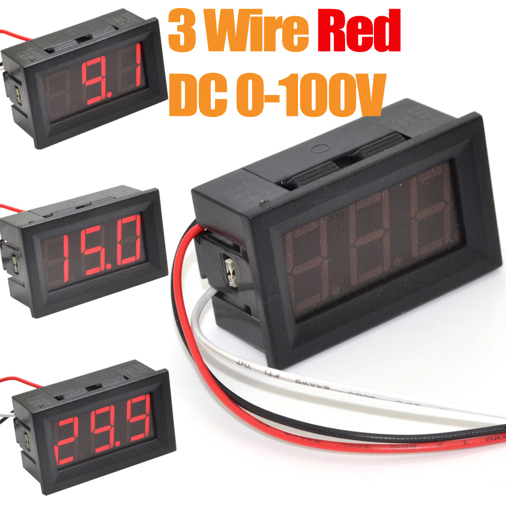Digital Panel Meter 9v 3 5 : Pcs wire dc v red led digital display