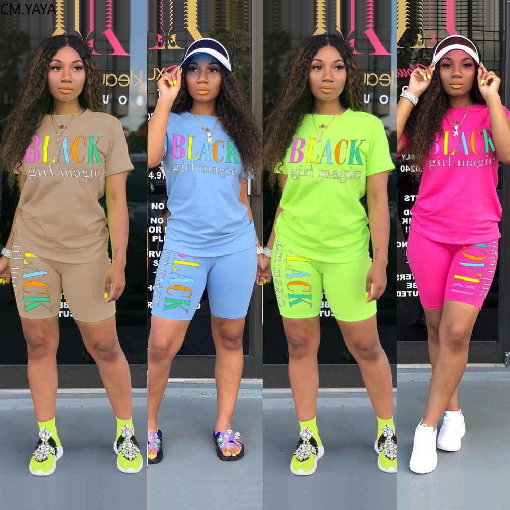 2019 Women new summer letter print short sleeve t-shirt knee length shorts suit two piece set sporting tracksuit outfit GL5249