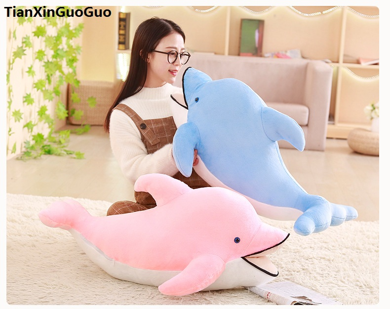 stuffed plush toy large 100cm lovely cartoon dolphin plush toy soft doll sleeping pillow birthday gift s0401 stuffed animal 90 cm plush dolphin toy doll pink or blue colour great gift free shipping w166