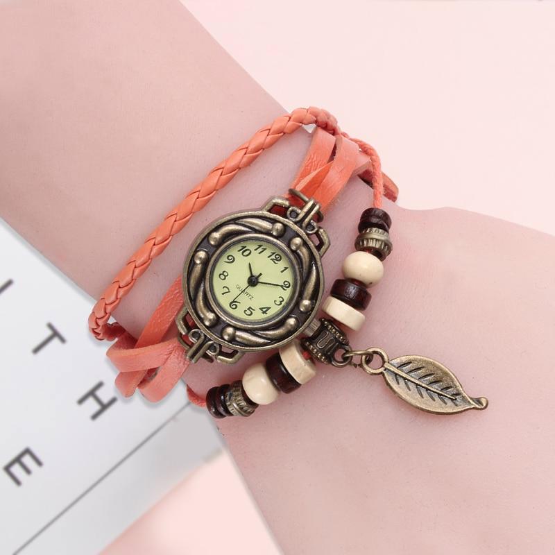 Multicolor High Quality Women Genuine Leather Vintage Quartz Dress Watch Bracelet Wristwatches leaf gift Christmas free shipping 5