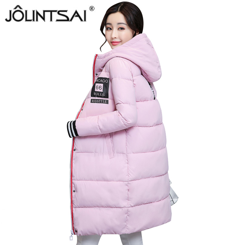 JOLINTSAI 2017 Winter Jacket Women Parka Hooded Coat Female Fashion Warm Outwear Cotton-Padded Long Wadded Jackets Coats Parkas jolintsai winter jacket women mid long hooded parkas mujer thick cotton padded coats casual slim winter coat women