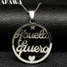 2019 Grandmother Stainless Steel Statement Necklace Women jewlery Silver Color Necklaces & Pendants Jewelry navidad N18021(China)