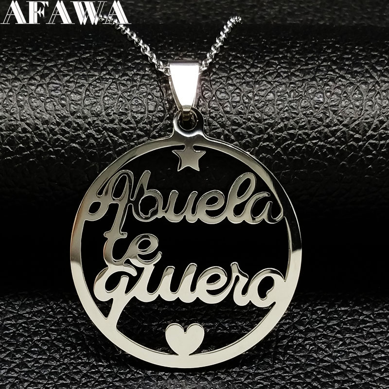 Grandmother Stainless Steel Statement Necklace Women jewlery Silver Color Necklaces & Pendants Jewelry navidad N18021(China)
