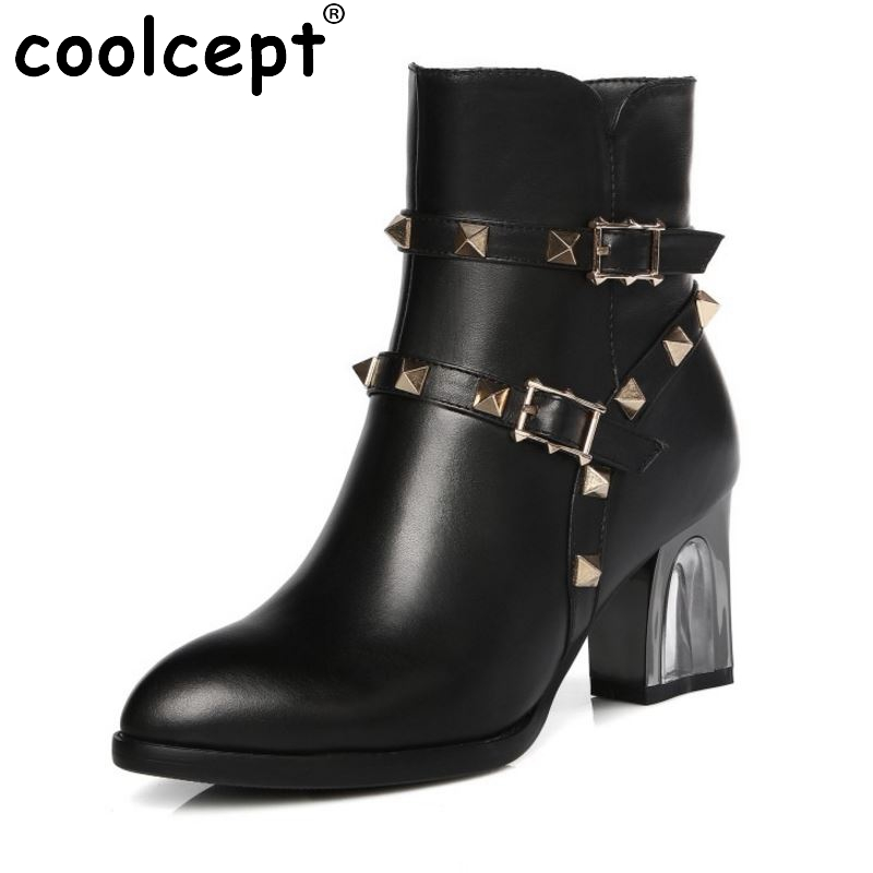 Fashion Women Pointed Toe Real Leather Half Boots Woman Stylish Rivets Buckle Botas Square Heel Shoes Footwear Size 31-45 women real leather flats rivets pointed toe leisure classics ladies shoes comfortable fashion new design footwear size 34 39