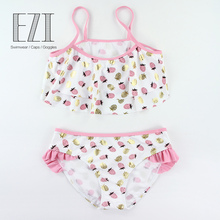 July Sand 2019 New Girls Swimsuit 6~14Years Kids Beach Bikini Lovely Strawberry Print Swimming Suits AJ911425