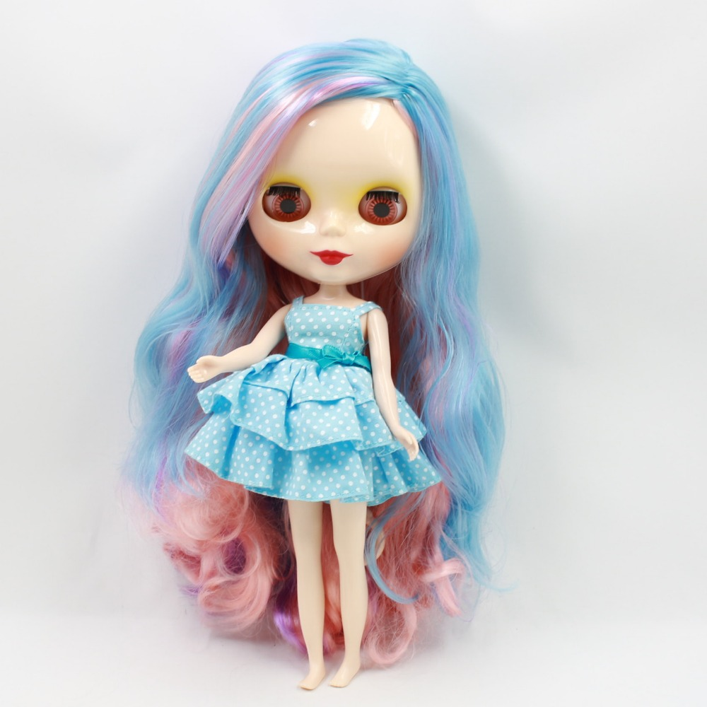 free shipping factory blyth doll normal body 300BL101072166227 Long colorful hair side parting 1/6 30cm adiors long middle parting shaggy wavy color mix synthetic party wig