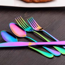 Flatware 5/10/20/30/40PCS Multicolor Rainbow Cutlery Set Stainless Steel Dinnerware Set Dinner Knife Fork Tableware Set Gadgets