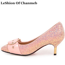 Fashion Female s Bling Bling Pointed Toe Pumps Big Plus Size 43 Woman Thin High  Heel Glitter Shoes Gold Silver Pink Glitter Pump 62291b977a51