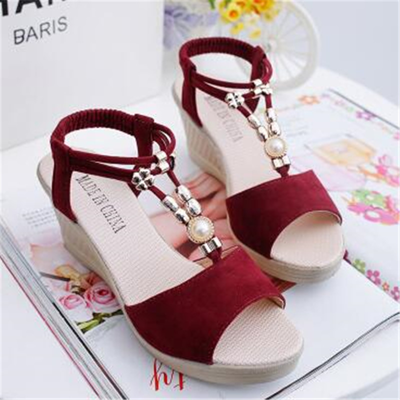 Women Sandals Platform-Shoes Wedge-Heels Female Peep-Toe New with Summer