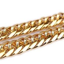 Corrente apertada enchida 10mm 23.6 do freio dos homens do ouro amarelo da colar pesada dos homens