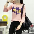 Women Harajuku T Shirt Fashion Kawaii T-shirt Women Tumblr T-shirts Batman Long Sleeve Printed T shirt Cute Tops
