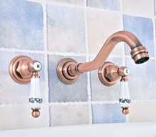 Wall Mount Double Handles 3 Hole Widespread Bathroom Sink Faucet Antique Red Copper Finish zsf523