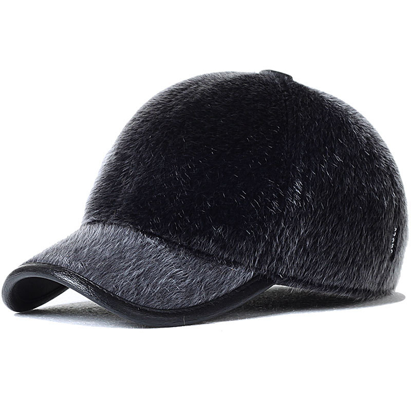 mink fur baseball cap faux pom new arrival genuine leather hat male seal wool winter ear women thickening fox