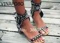 Top qualité décontracté Style de rue boucle sangle gladiateur sandales clouté Rivets bout ouvert femmes pompes Rome sandales talons hauts femme