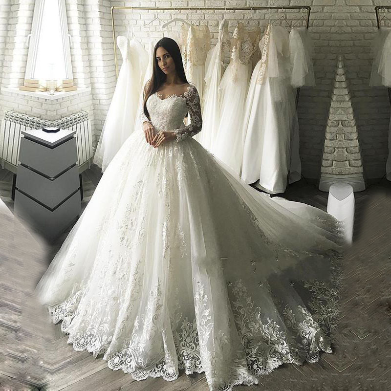 Ball Gown Wedding Dress 2018 Vestido De Noiva Bridal Gowns With Lace Appliques Robe De Mariage Wedding Dresse