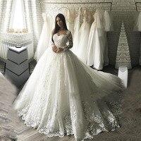 Дубай Роскошные бальное платье свадебное платье 2018 Vestido De Noiva Свадебные платья с кружевными аппликациями; Robe De Mariage свадебное платье e