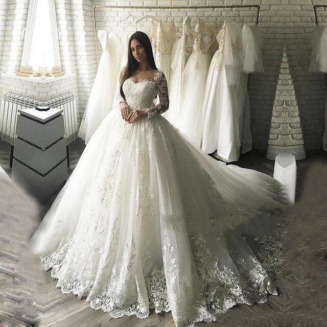 Dubai Luxury Ball Gown Wedding Dress 2018 Vestido De Noiva Bridal Gowns  With Lace Appliques Robe De Mariage Wedding Dresse c9d7d44f0e91