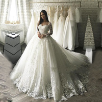 Dubai Luxury Ball Gown Wedding Dress 2018 Vestido De Noiva Bridal Gowns With Lace Appliques Robe De Mariage Wedding Dresse