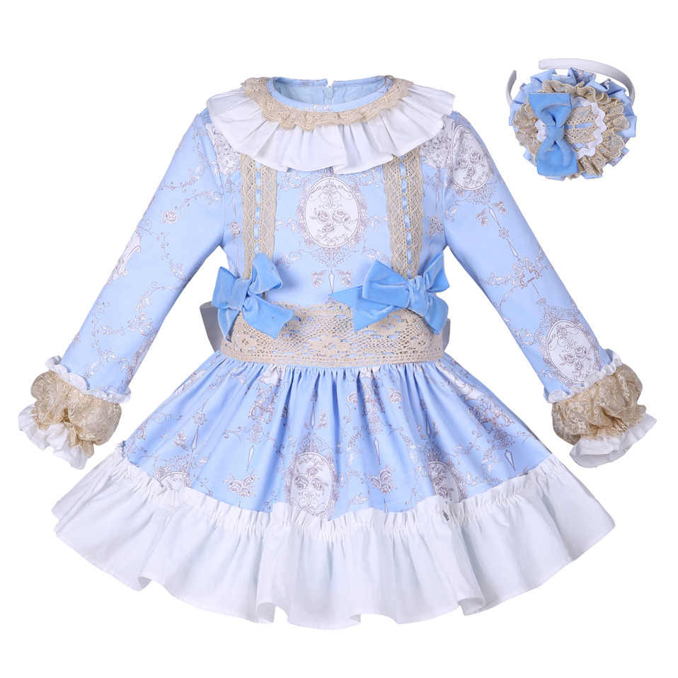 Pettigirl New Blue Flower Girls Dress Solid Princess Dress With Bowtie  Boutique Spring Autumn Children 00293e5bb612