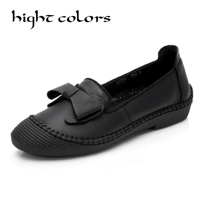 Genuine leather shoes woman 2018 new bow slip on boat shoes for women flats shoes big size 35-41 loafers chaussure femme flats man loafers shoes pointed toe high quality big size 46 39 black white orange slip on pu leather new arrival 2017 ephemeral